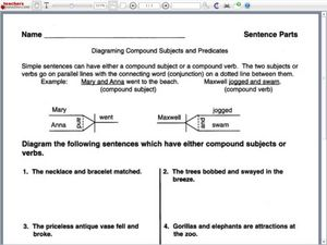 Diagramming compound subjects and predicates worksheet for 4th diagramming compound subjects and predicates in this sentence diagram worksheet ccuart Choice Image