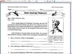 Meet Amerigo Vespucci Worksheet