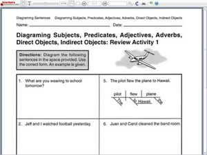 Diagramming sentences review activity 1 worksheet for 6th grade diagramming sentences review activity 1 worksheet ccuart Images
