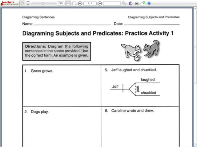 diagram compound subject worksheets diagramming subjects and predicates: practice activity 1 ... dc compound motor wiring diagram
