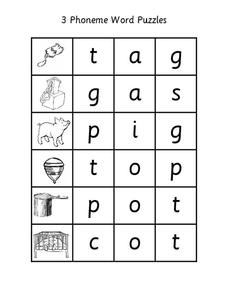 3 Phoneme Word Puzzles Worksheet