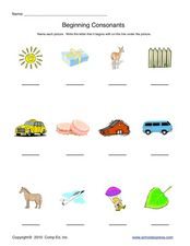 Beginning Consonants-Naming Pictures and Beginning Sounds Worksheet