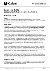 Developing Rights Lesson Plan