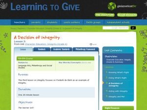 A Decision of Integrity Lesson Plan