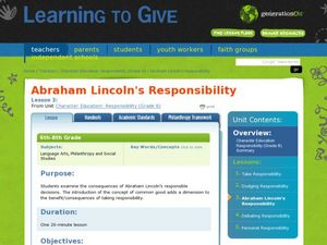 Abraham Lincoln's Responsibility Lesson Plan