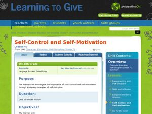 Self Motivation Lesson Plans & Worksheets Reviewed by Teachers