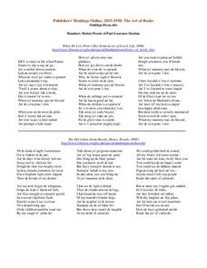 Dialect Poems of Paul Laurence Dunbar Worksheet
