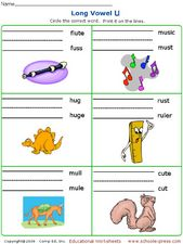 Long Vowel U: Matching Words to Pictures Worksheet