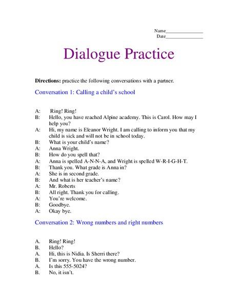 dialogue practice worksheet for 2nd 3rd grade lesson planet. Black Bedroom Furniture Sets. Home Design Ideas