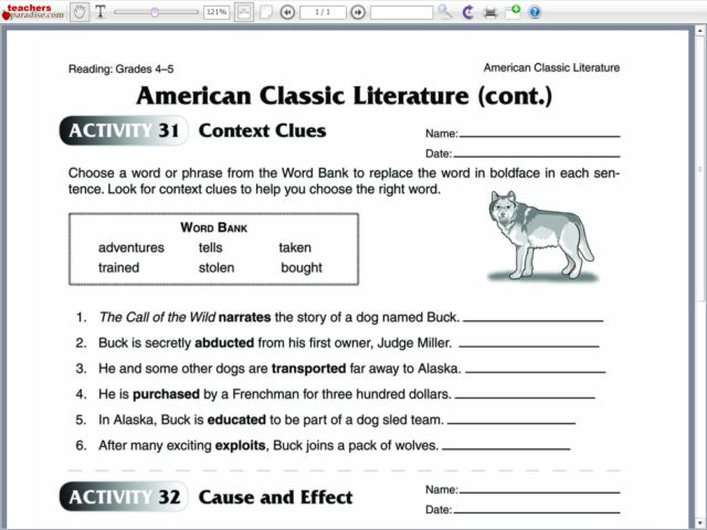 Context Clues and Cause and Effect 4th - 5th Grade Worksheet ...