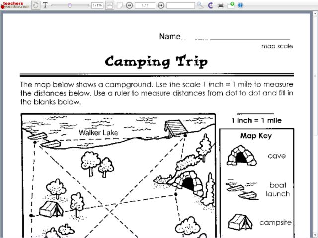 Camping Trip 1st 2nd Grade Worksheet – Map Scales Worksheet