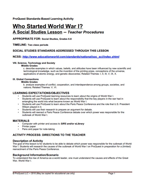 Who Started World War I? Lesson Plan for 6th - 8th Grade