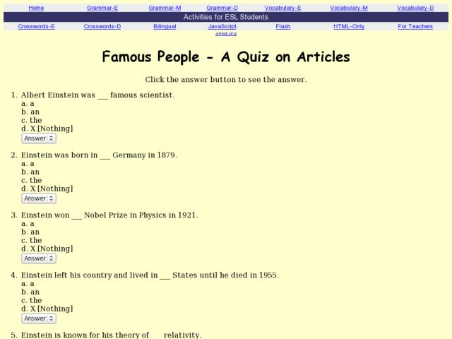 Famous People - A Quiz on Definite and Indefinite Articles 7th ...