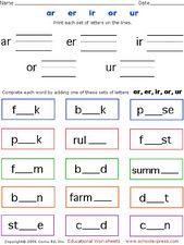 free phonics worksheets er ir ur - Google Search | Blending words ...