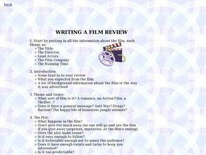 graphic organizer for writing a movie review