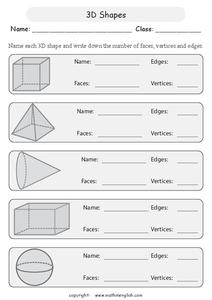 3-D Shapes Worksheet