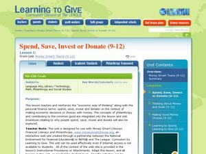 Spend, Save, Invest or Donate (9-12) Lesson Plan