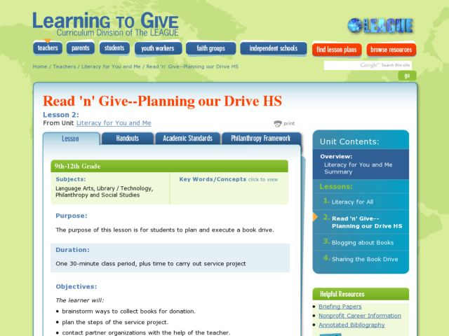 Read 'n' Give - Planning our Book Drive Lesson Plan