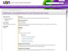 Dietary Guidelines/Food Pyramid Test Lesson Plan