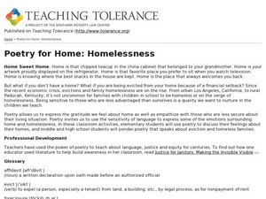 Poetry for Home: Homelessness Lesson Plan