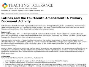 Latinos and the Fourteenth Amendment: A Primary Document Activity Lesson Plan