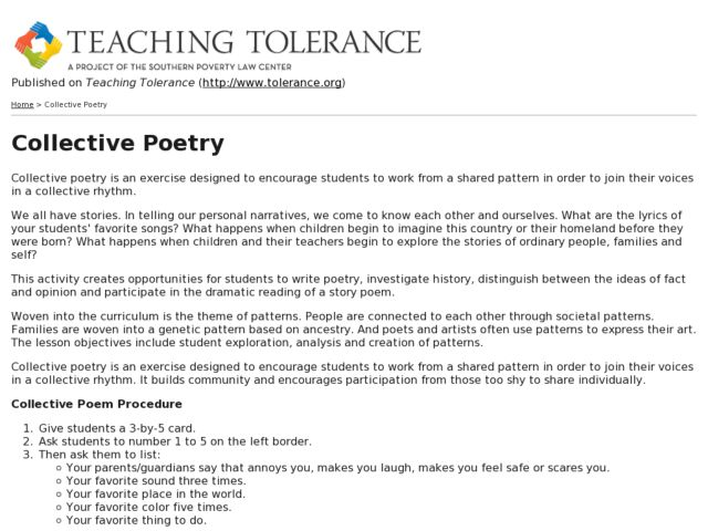 teaching tolerance lesson plans - 640×480