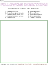 following directions drawing activity worksheet for 1st 2nd grade lesson planet. Black Bedroom Furniture Sets. Home Design Ideas