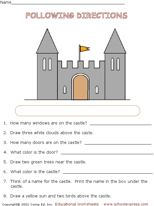 following directions activity castle worksheet for 2nd 3rd grade lesson planet. Black Bedroom Furniture Sets. Home Design Ideas