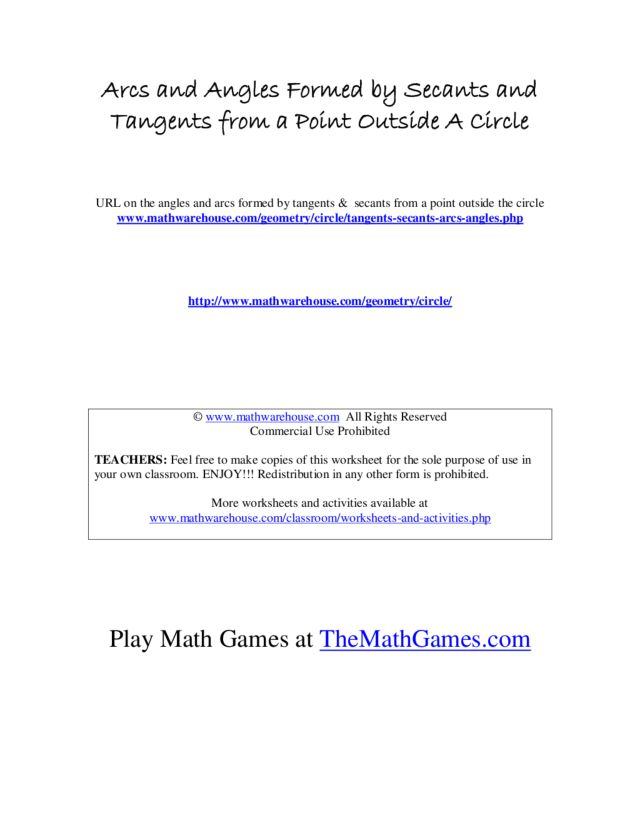 Arc and Angles Formed by Secants and Tangents 9th - 11th Grade ...