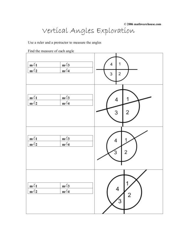 Vertical Angles Exploration Worksheet For 10th Grade
