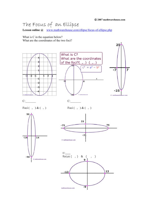 The Focus Of An Ellipse Worksheet For 9th 11th Grade