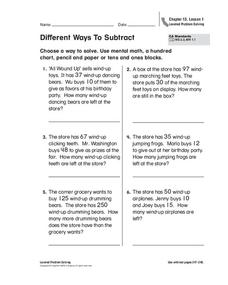 Different Ways to Subtract Worksheet