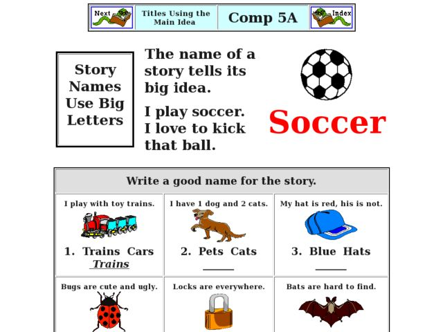 Titles Using The Main Idea Worksheet For Kindergarten