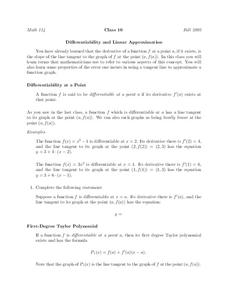 Differentiability and Linear Approximation Worksheet