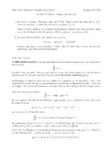Differential Equations Worksheet