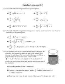 Differential Equations Lesson Plans & Worksheets | Lesson Planet