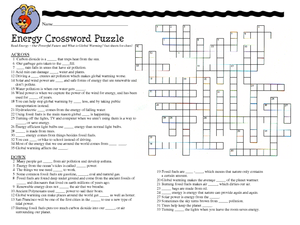 energy crossword puzzle worksheet for 7th 8th grade lesson planet. Black Bedroom Furniture Sets. Home Design Ideas