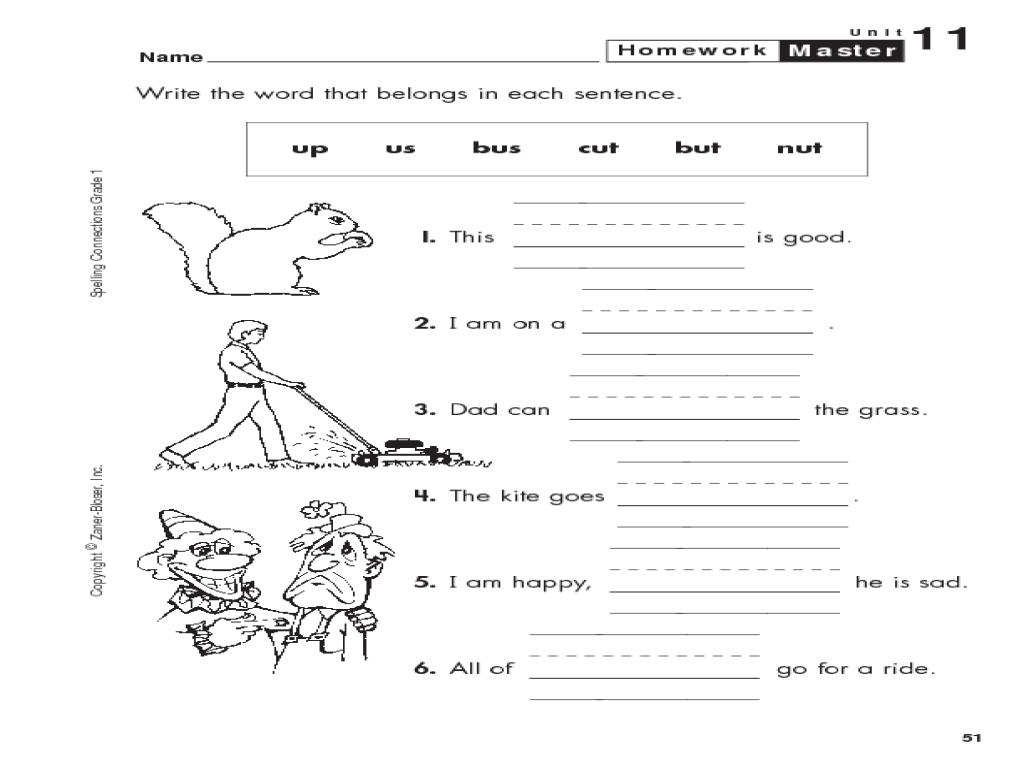 grade 1 spelling homework master worksheet for 1st grade lesson planet. Black Bedroom Furniture Sets. Home Design Ideas
