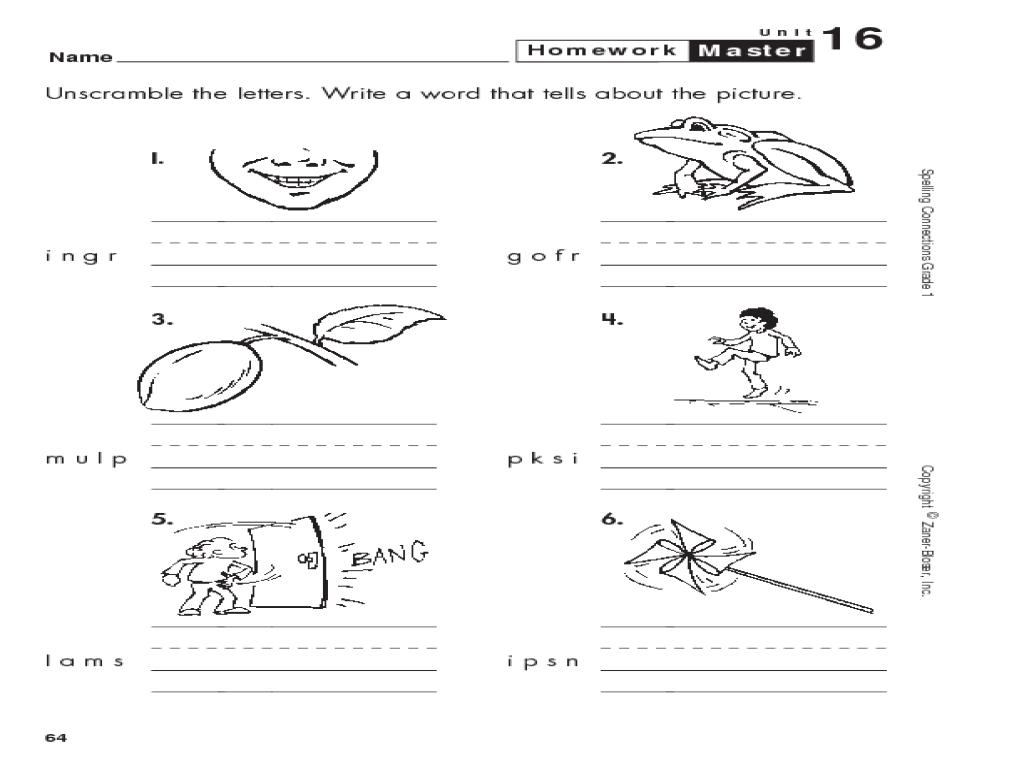 1st Grade Spelling Word Scramble Worksheet for 1st Grade ...