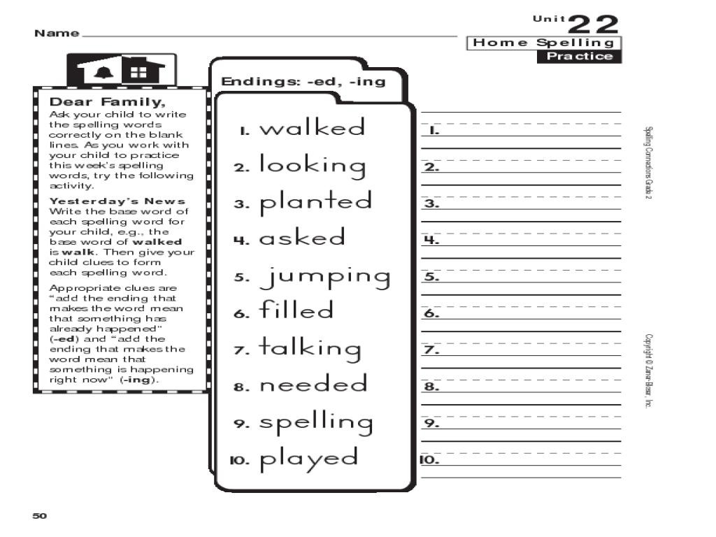 Home Spelling Practice Grade 2 Endings Ed Ing