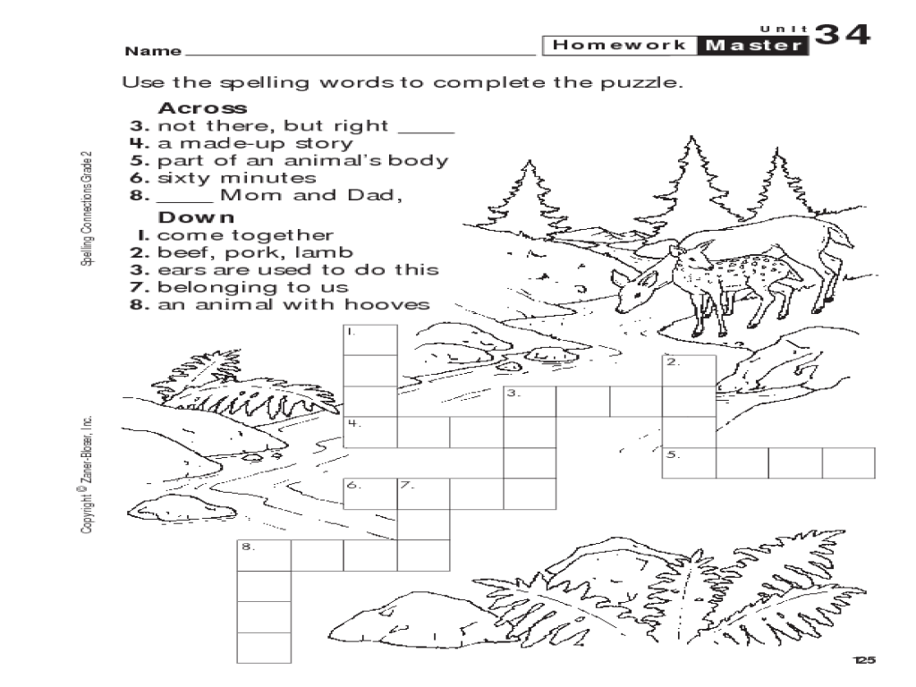 2nd Grade Spelling Crossword Puzzle 2nd Grade Worksheet | Lesson ...