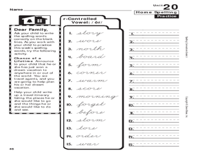 Spelling: 3rd Grade r-Controlled Vowels Worksheet