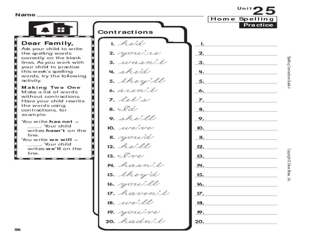 Home Spelling Practice: Grade 4: Contractions Worksheet