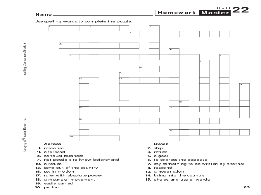 Spelling Crossword Puzzle Worksheet for 4th - 5th Grade