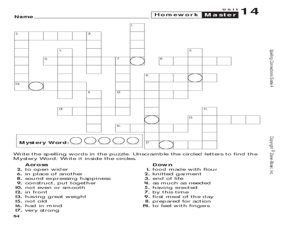 Spelling Connections: Grade 4 Crossword Puzzle Worksheet for 4th ...