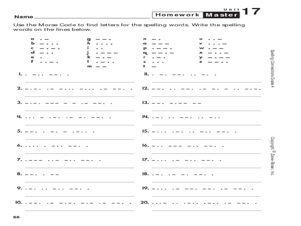 Morse Code Spelling 3rd 6th Grade Worksheet – 6th Grade Spelling Worksheets