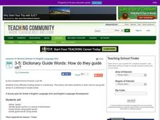 Dictionary Guide Words: How Do They Guide Us? Lesson Plan