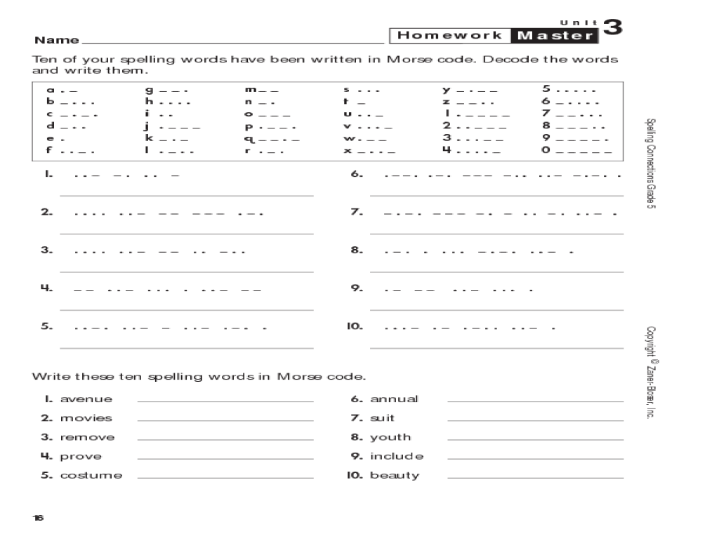 Spelling Connections Grade 5 Spelling Words in Morse Code 5th – Spelling Worksheets for Grade 5