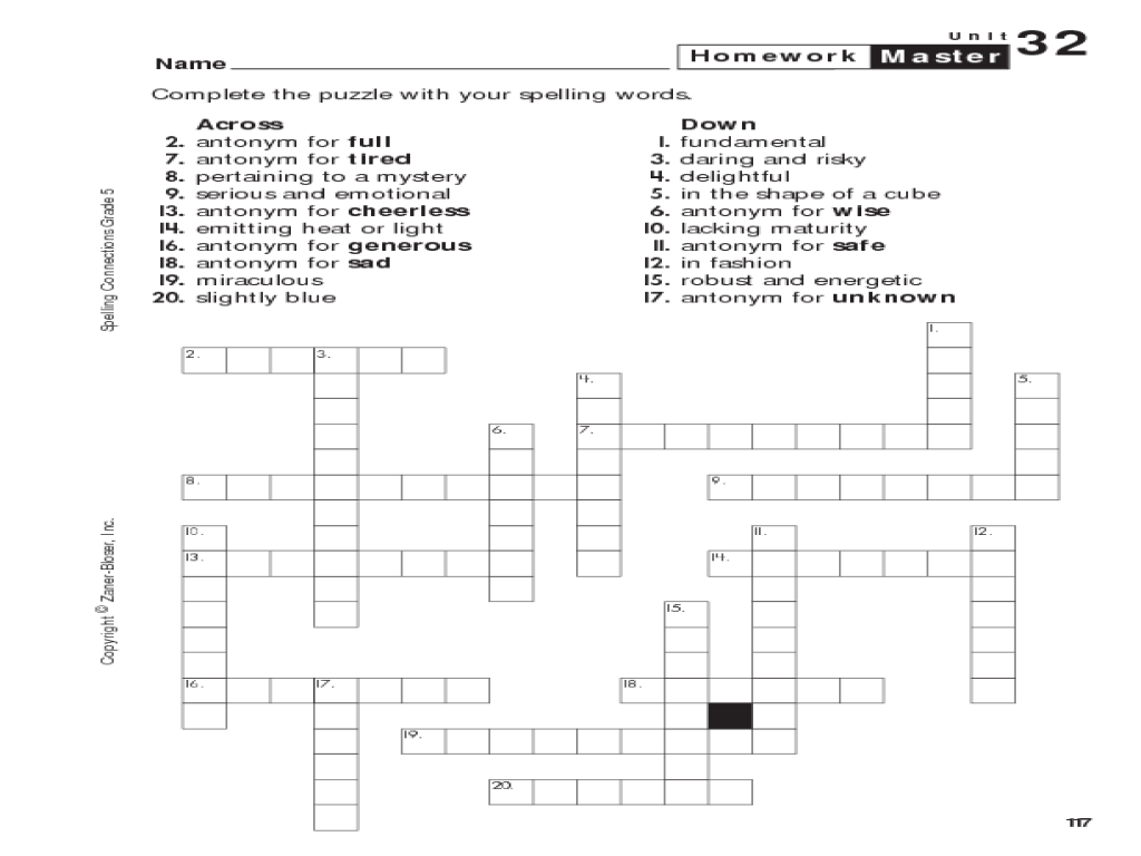 spelling connections grade 5 crossword puzzle worksheet for 5th 6th grade lesson planet. Black Bedroom Furniture Sets. Home Design Ideas