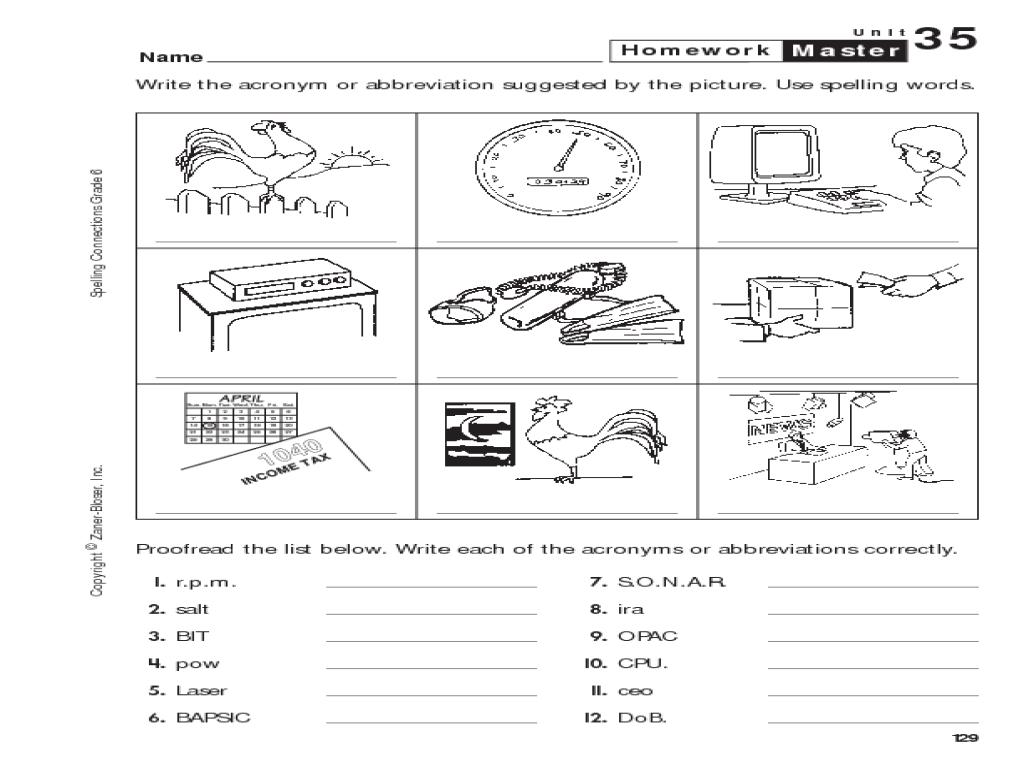 Abbreviations worksheets grade 4